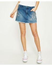 Free People - Shine Bright Shine Far Mini Skirt Blue - Lyst
