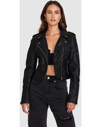 Neon Hart Stella Leather Look Biker Jacket - Black