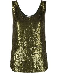 P.A.R.O.S.H. Green Sequin-embellished Scoop Neck Top