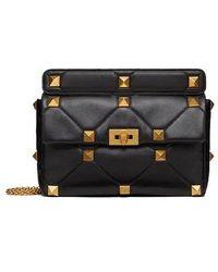 Valentino Garavani Black Large Roman Stud The Shoulder Bag With Chain