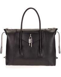 Givenchy - Medium Antigona Soft Lock Bag In Black Smooth Leather - Lyst