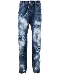 DSquared² Blue Distressed Slim Jeans