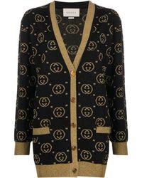 Gucci Cardigan in lana con motivo GG - Nero