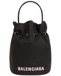 Balenciaga Wheel Xs Drawstring Bucket Bag In Black