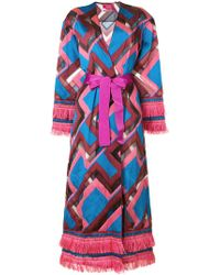 For Restless Sleepers - Chevron Print Robe Coat - Lyst