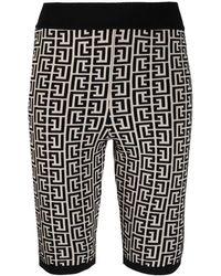 Balmain Bicolour Jacquard Knit Shorts With Monogram - Black