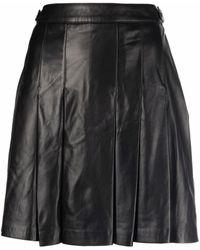 Arma Black Leather Pleated Miniskirt