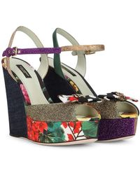 Dolce & Gabbana Wedge Sandals In Patchwork Fabrics - Multicolour