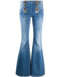 Balmain Flared Cut Jeans With Gold Tone Buttons - Blue