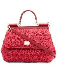 Dolce & Gabbana Red Medium Raffia Crochet Sicily Bag