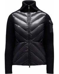 Moncler - Black Quilted Cardigan - Lyst