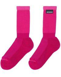 Jacquemus Calzini Les chaussettes à l'envers rosa