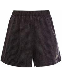Prada Black Checked Wool Shorts - Gray