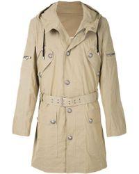 Balmain Buttoned Parka Coat - Natural