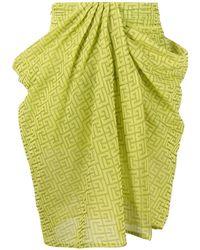 Balmain Green Draped Printed Skirt
