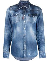 DSquared² Distressed-effect Denim Shirt - Blue