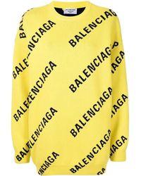 Balenciaga Maglione Girocollo Allover Logo in maglia di cotone giallo e nero