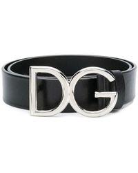 Dolce & Gabbana Cintura in cuoio bottalato con logo dg - Nero