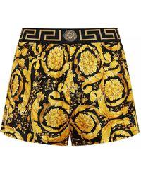 Versace Boxer in seta con stampa barocco dorata - Metallizzato