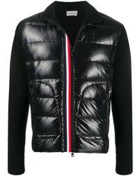 Moncler Cardigan tricot con inserto tricolore - Nero