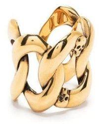 Alexander McQueen Gold Skull Chain Ring - Metallic