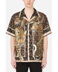 Dolce & Gabbana Camicia Hawaii seta stampa leopardi - Multicolore