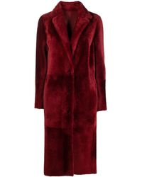 DROMe Red Fur Single Breasted Coat