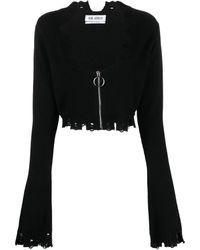 The Attico Distressed Zip-up Cardigan - Black