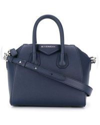 Givenchy - Blue Mini Antigona Bag In Grained Leather - Lyst
