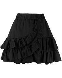 FEDERICA TOSI Black Ruffled-trim Skirt