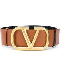 Valentino Garavani Cintura reversibile VLogo Signature in vitello lucido 70 mm - Marrone