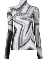 Acne Studios White And Black Star-print Roll-neck T-shirt