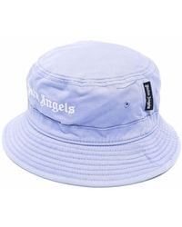 Palm Angels Lilac And White Cotton Logo-embroidered Bucket Hat - Purple