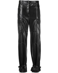 MSGM - Black Leather Trousers With Ankle Ties - Lyst