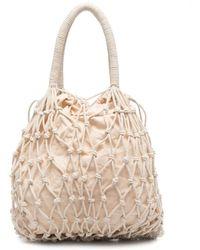 P.A.R.O.S.H. White Samy Handbag In Braided Fabric