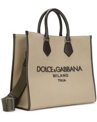 Dolce & Gabbana Borsa shopping Edge in canvas beige con logo ricamato - Neutro