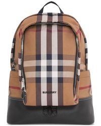 Burberry Large Brown Check Cotton Canvas And Leather Backpack