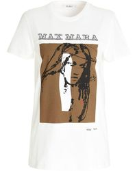 Max Mara T-shirt Drivina in cotone bianco
