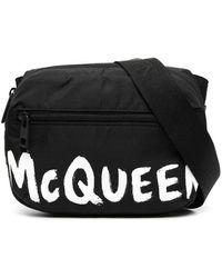 Alexander McQueen Marsupio nero con logo McQueen effetto graffiti