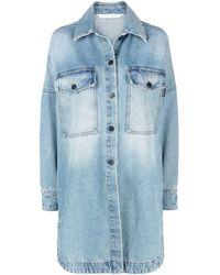 Palm Angels Oversize Denim Jacket - Blue
