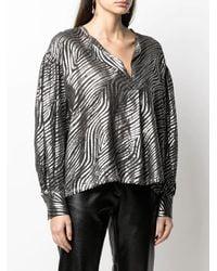 Nude Black And Silver Zebra-print Balloon-sleeves Shirt