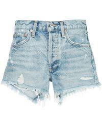 Agolde Parker Distressed Denim Shorts - Blue