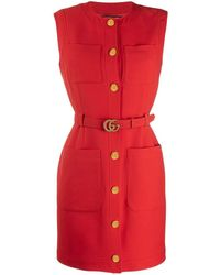 Gucci Cady Silk Wool Vest With Double G - Red