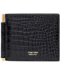Tom Ford Black Crocodile Effect Money Clip Wallet