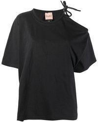Nude Cold-shoulder T-shirt - Black