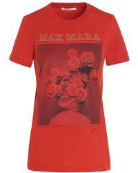 Max Mara T-shirt in jersey di puro cotone rosso