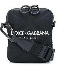 Dolce & Gabbana Palermo Tecnico Crossbody Bag In Nylon With Logo Print - Nero