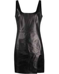 DROMe Black Backless Leather Minidress