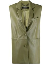 FEDERICA TOSI Green Leather Vest Jacket