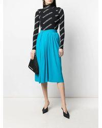 Balenciaga Plissé Midi Skirt - Blue